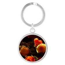 Roses I - Orange, Red and Gold Glor Round Keychain