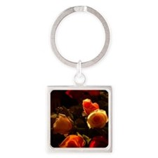 Roses I - Orange, Red and Gold Glo Square Keychain