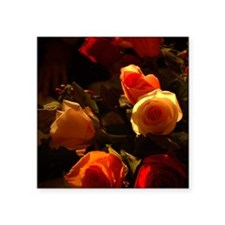 """Roses I - Orange, Red and G Square Sticker 3"""" x 3"""""""