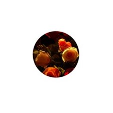 Roses I - Orange, Red and Gold Glory Mini Button