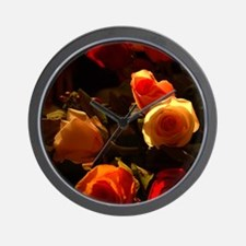 Roses I - Orange, Red and Gold Glory Wall Clock