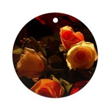 Roses I - Orange, Red and Gold Glor Round Ornament
