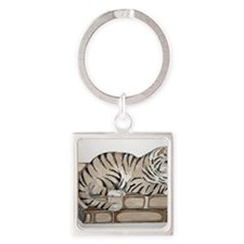 cat on book Square Keychain