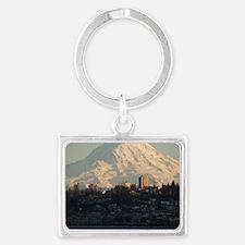 Mt. Rainier with city Landscape Keychain