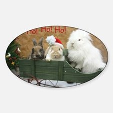 Bunny Trio Christmas Sticker (Oval)