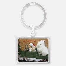 Bunny Trio Christmas Landscape Keychain