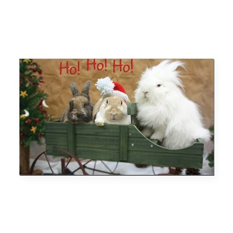 Bunny Trio Christmas Rectangle Car Magnet