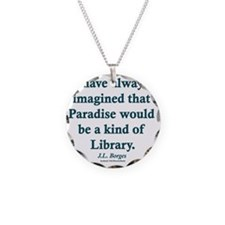 Paradise is a Library Necklace Circle Charm
