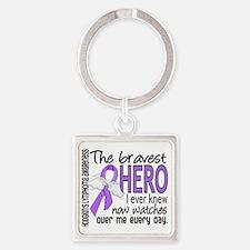 D Hodgkins Lymphoma Bravest Hero I Square Keychain