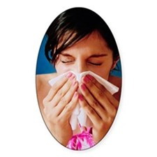 Woman sneezing Decal