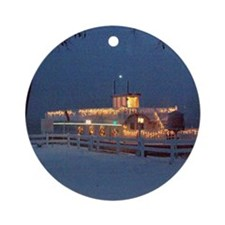 Christmas Dixie Boat North Webster  Round Ornament