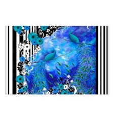 Peacock Blue Garden Strip Postcards (Package of 8)