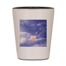 Sq-WORDS-Zen Lily Floating in Clouds ~  Shot Glass