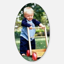 Young boy taking his first steps Sticker (Oval)