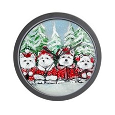 Christmas Westies Wall Clock