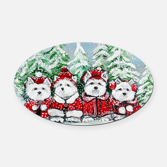Christmas Westies Oval Car Magnet