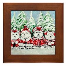 Christmas Westies Framed Tile