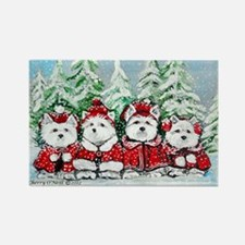 Christmas Westies Rectangle Magnet