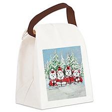 Christmas Westies II Canvas Lunch Bag