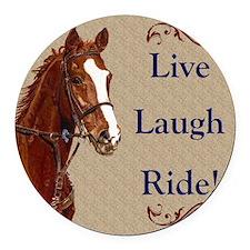 Live! Laugh! Ride! Horse Round Car Magnet