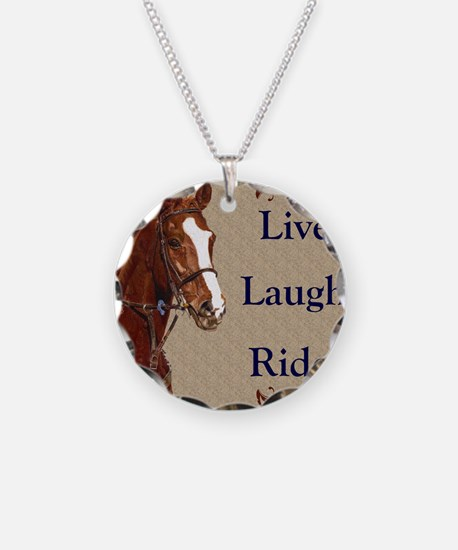 Live! Laugh! Ride! Horse Necklace Circle Charm