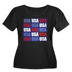 USA Women's Plus Size Scoop Neck Dark T-Shirt