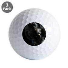 One Eyed Close-up of Black Cat Golf Ball