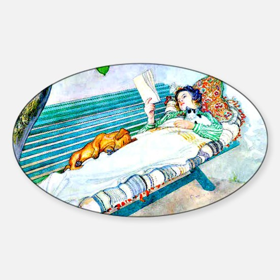 Carl Larsson: Woman Lying on a Benc Sticker (Oval)