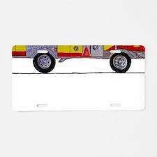 Fire Truck Framed Print Aluminum License Plate
