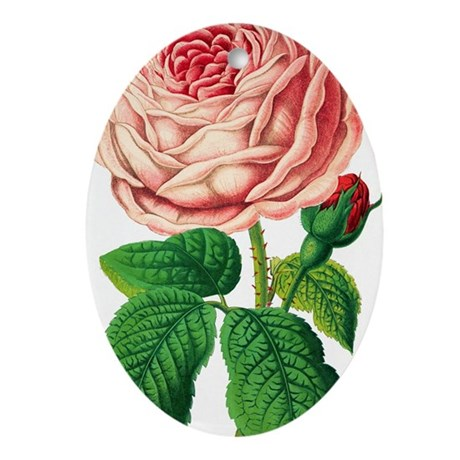 Rose Oval Ornament