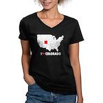 I Love Colorado Women's V-Neck Dark T-Shirt