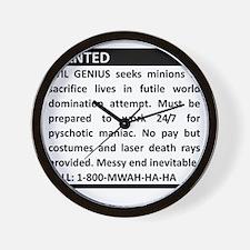 Evil Genius Advert Wall Clock