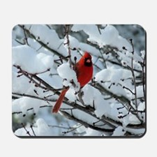 Snow Cardinal Mousepad