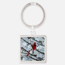 Snow Cardinal Square Keychain