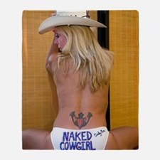 Naked Cowgirl - Go Topless Throw Blanket