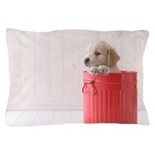 Golden retriever puppy in a red can Pillow Case