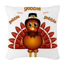 Gobble Gobble Turkey Woven Throw Pillow