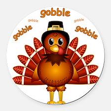Gobble Gobble Turkey Round Car Magnet
