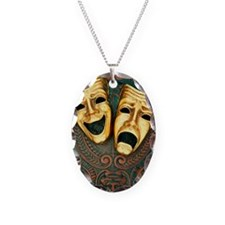 Golden comedy and tragedy mask Necklace