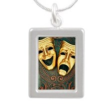 Golden comedy and traged Silver Portrait Necklace