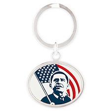 Obama Forward Flag Oval Keychain