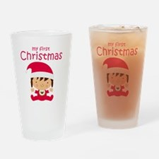 Girls My First Christmas Drinking Glass