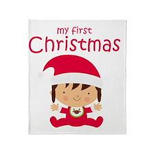 Girls My First Christmas Throw Blanket