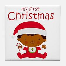Black Boy 1st Christmas Tile Coaster