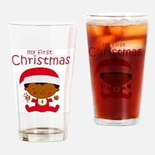 Black Boy 1st Christmas Drinking Glass