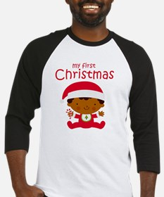 Black Boy 1st Christmas Baseball Jersey