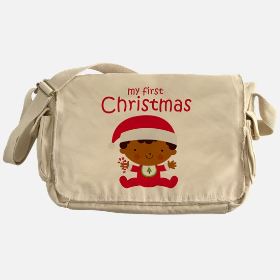 Black Boy 1st Christmas Messenger Bag