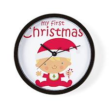 Blonde Boy 1st Christmas Wall Clock