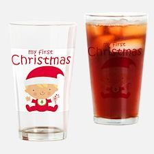 Blonde Boy 1st Christmas Drinking Glass