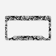 White on Black Damask License Plate Holder